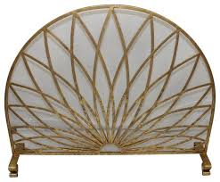 fireplace screen single panel arched