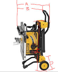 Designing Cabinets And I Need The Dimensions Of Dewalt Dwe7491rs In The Folded Position While Standing Shitty Drawing Attached Indicating The 4 Measurements I Need 1 Or 2cm Is Fine Tia Tools