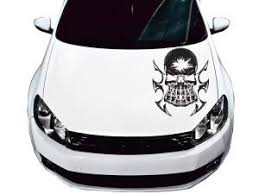 Fgd Hand Print Skull Face Hood Decal Sticker Graphic 23 5 X24 Hps2422 Universal Fits Car Truck Suv And Jeep Family Graphix Llc