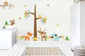 Forest Wall Decal Woodland Wall Decal Nature Wall Decal Wildlife Nurserydecals4you