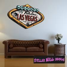 Gambling Las Vegas Sign Wall Decal Wall Fabric Repositionable Decal Vinyl Car Sticker Usc004