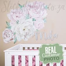 Cream Giant Peonies Wall Decal Large Peony Floral Wall Art Stickers