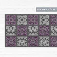 area rug in purple and grey printed pvc