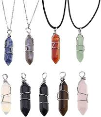 stone quartz crystal shaped pendants