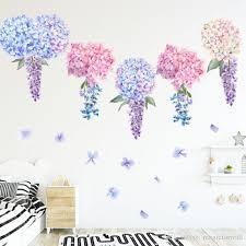 Purple Lavender Hydrangea Flowers Wall Stickers Kids Girls Room Background Wall Tattoo Home Decor Wall Decals Art Hanging Mural Vinyl Wall Art Quotes Vinyl Wall Art Stickers From Magicforwall 7 03 Dhgate Com