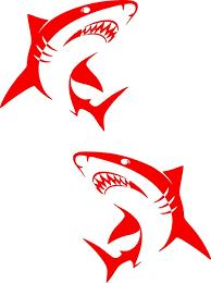 Amazon Com Sticker Shark Set Vinyl Decal Car Boat Wall Window Art Decor Multiple Size Red 5 H X 5 5 W Inch Arts Crafts Sewing