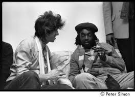 Keith Richards (left) talking with Peter Tosh backstage during an  appearance on Saturday Night Live - Digital Commonwealth