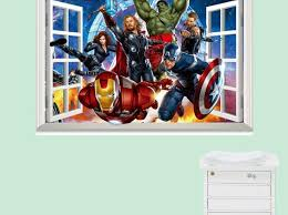 Superhero Wall Stickers Uk Super Hero Decal Large City Art Bedroom Amazon India Vamosrayos