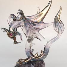 hand blown glass dragon winged figurine
