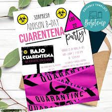 Invitacion De Cumpleanos De Cuarentena Virtual Imprimible Para Nina Diy Bobotemp