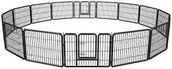 Pet Playpen Exercise Pen Dog Fence Animal Kennel Cage Yard Travel Camping Wire Metal Portable Folding Indoor Outdoor Crate For Dogs With Door 24inches 8 Panels And 16 Panels 12624inches Black Amazon Co Uk