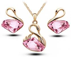 pink crystal necklace earrings set