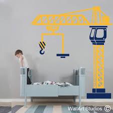 crane construction wall art decal