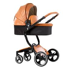 luxury pu leather baby stroller