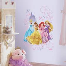 Roommates 2 5 In X 21 In Disney Princesses And Castles Peel And Stick Giant Wall Decal 4 Piece Rmk2772tb The Home Depot