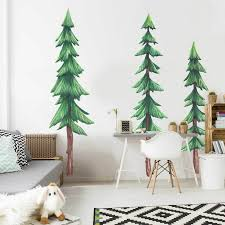 Set Of Three Pine Trees Watercolor Wall Decals