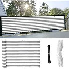 Amazon Com Balcony Privacy Screening Cover Shoiwn Fence Covering For Sun Protection 3 X 16 4 Blue White Strips Multiple Colors Available White 1 Garden Outdoor