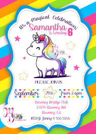 Unicorn Birthday Party Invitation Printable Rainbow Unicorn