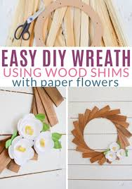 wood shim wreath with paper flowers