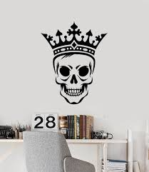Vinyl Wall Decal Skull King Crown Skeleton Scary Decor Boy Room Sticke Wallstickers4you