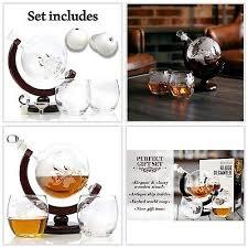 whiskey globe decanter globe set etched
