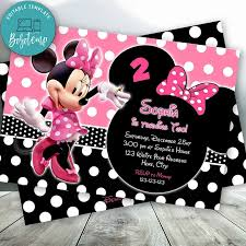 Editable Rosa Y Negro Invitaciones De Minnie Mouse Descarga