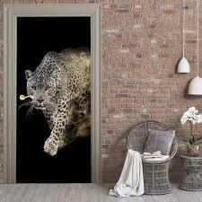 Leopard Door Mural 3d Animals Decal Door Vinyl Cover Etsy