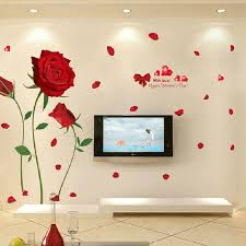 Red Rose Wall Decal Mural Removable Flowers Stickers Vinyl Art Diy Home Decor Us