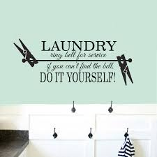 Laundry Room Wall Decals Laundry Ring Bell For Service Do It Yourself Quotes Vinyl Home Decor Wash Room Clothespin Stickers Z738 Wall Stickers Aliexpress