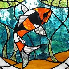 stained glass koi with water lilies