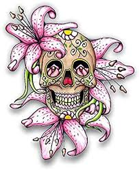 Amazon Com Lilly Flower Sugar Skull Car Stickers Decals Waterproof Car Styling Bumper Stickers For Car Body Door Window Stickers Vinyl 5 Automotive