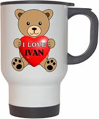 Amazon.com: I Love Ivan White Stainless Steel Mug: Kitchen & Dining