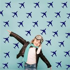 Amazon Com Melissalove 24pcs Set Airplane Wall Pattern Wall Decals Diy Wall Decor Stickers For Kids Room Boy Bedroom Home Decor Mural A430 Dark Blue Home Kitchen