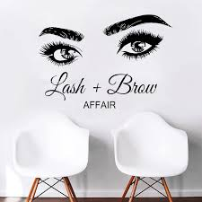 Affair Lash Brow Eyelashes Vinly Decals Wall Decal Window Sticker Beauty Salon Woman Face Lashes Eyebrows Brows Handmade Ll192 Wall Stickers Aliexpress