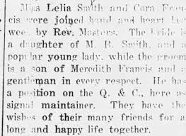 Corey FRANCIS - Lela SMITH 1918 Marriage. - Newspapers.com