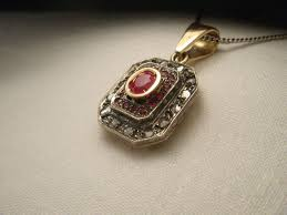 14k pink rose gold diamond ruby pendant