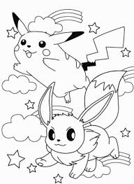 Eevee And Pikachu Coloring Pages High Quality Coloring Pages