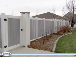 Grey And White Vinyl Privacy Fence Vinyl Privacy Fence White Vinyl Fence Vinyl Fence Panels