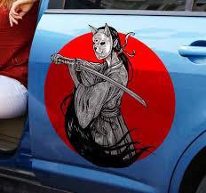 Ninja Girl Silhouette On Red Background Tenstickers