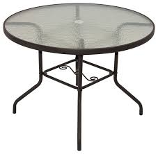 round patio table with tempered glass