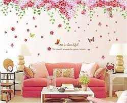 Amazon Com Amaonm Large Huge Fashion Pink Romantic Cherry Blossom Flower Vine Butterfly Wall Corner Decal Wall Stickers Murals Wallpaper For Kids Girls Bedroom Living Room Tv Background Wall Corner Decorations Arts Crafts