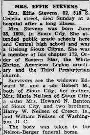 Obituary for EFFIE STEVENS (Aged 52) - Newspapers.com