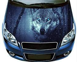Amazon Com Nat999lily Wolf Car Hood Decal Car Vinyl Sticker Wolf Sticker Car Accessories Car Bumper Sticker Car Wrap Car Graphics Design Lk11446 14x53 Inches Home Kitchen