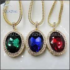 gold hip hop single big stone pendant