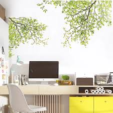 Green Leaves Summer Tree Branches Wall Decal Removable Pvc Wall Sticke Nordicwallart Com