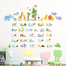 Decowall Dat 1608p1513 Jungle Animals Alphabet Abc Kids Wall Decals Wall Stickers Peel And Stick Removable Wall Stickers For Kids Nursery Bedroom Living Room Baby B01ioxo0z0