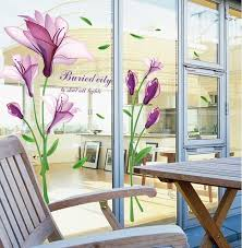 Kitchen Furniture China Cheap Translucent Purple Lily Flowers Wall Stickers Women Salon Dining Room Home Decor Art Plants Diy Wall Papers Glass Window Decals