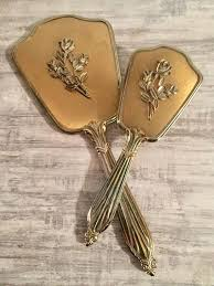 vintage hand mirror and brush set gold