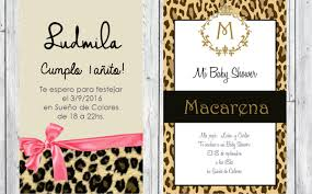 Animal Print Tarjeta Invitacion Nacimiento Babyshower Cumple