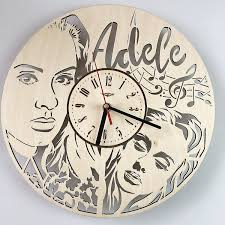 Amazon.com: 7ArtsStudio Adele Wall Clock Made of Wood - Perfect and  Beautifully Cut - Decorate Your Home with Modern Art - Unique Gift for Him  and Her - Size 12 Inches: Home & Kitchen